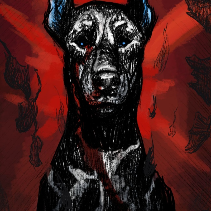 A sketch of a doberman with a red background with a few shades of blue on the dog