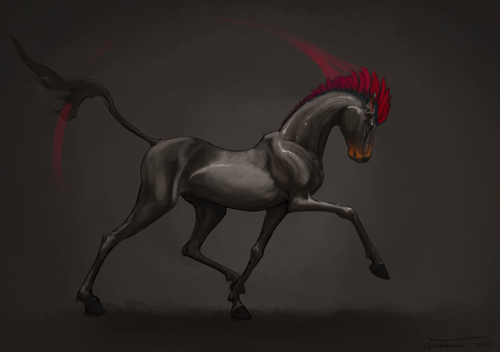 Drawing of a dark silver horse walking, seen from the side. Instead of a mane it has tooth like structures, coloured bright red-purple