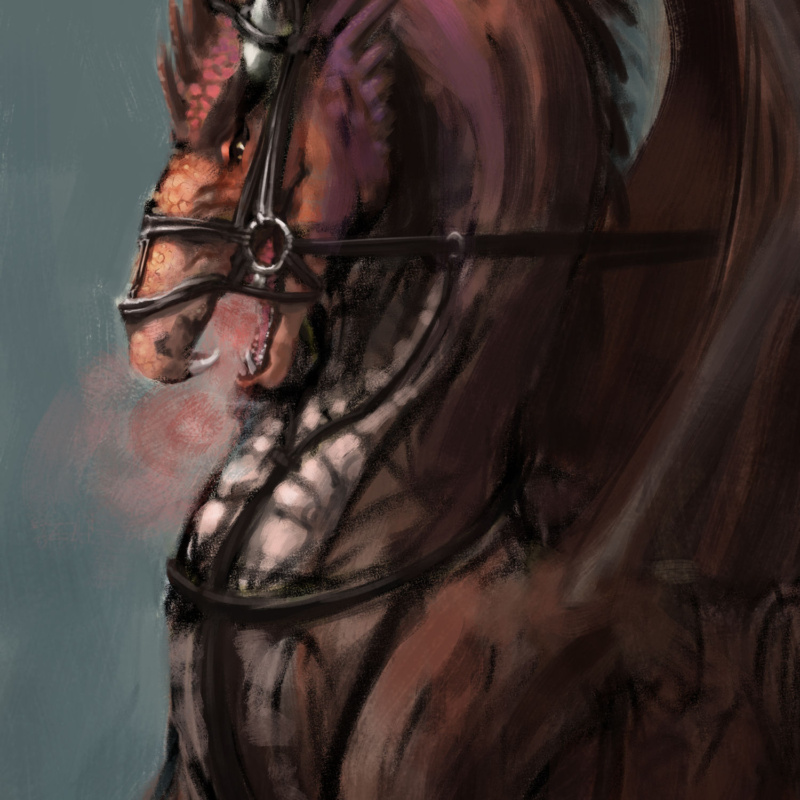 Drawing of a red dragon in a bridle, not looking pleased